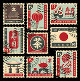 Postage stamps on Japanese cuisine Royalty Free Stock Photo