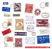 Postage stamps and labels from Australia. Postage stamps and  labels from Australia, mostly vintage showing airmail motifs and national symbols Stock Photos