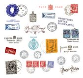 Postage stamps and labels from the Channel Islands. Postage stamps and  labels from the Channel Islands, mostly vintage ,showing airmail motifs and national Stock Photos