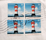 Postage stamps lighthouse from Germany. Four used postage stamps lighthouse from Germany Stock Photos