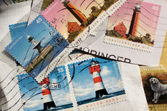 Postage stamps lighthouse from Germany Royalty Free Stock Image