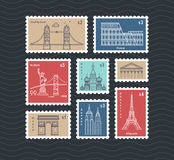 Postage stamps with line travelling city national landmarks vector set. Postmark mail rectangular, illustration of post mark with eiffel tower Royalty Free Stock Images