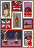 Postage stamps for London theme. Stock Image
