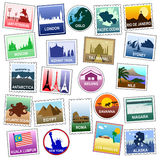 Postage stamps. For lovers of world travel royalty free illustration