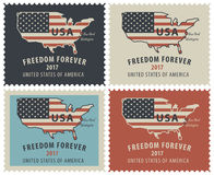 Postage stamps with map of USA in colors of flag Stock Image