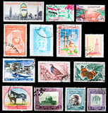 Postage stamps - Middle East. Postage stamps from the Middle East as it follows from top to bottom: Yemen, Syria, Lebanon, Jordan Royalty Free Stock Photos