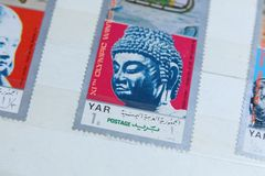 Postage stamps. Old collection of postage stamps, Olympic sports royalty free stock photo