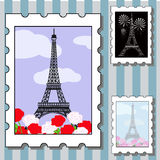 Postage stamps with paris Royalty Free Stock Photos