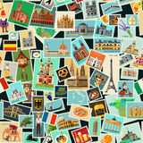 Postage stamps pattern. Seamless Pattern with Postage stamps. Germany, Italy and France Historical Architecture. Vector illustration Royalty Free Stock Images
