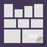 Postage stamps with perforated edge and mail stamp vector template. Set of postal stamp frame, illustration of stamp for mail stock illustration