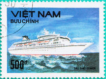 Postage stamps printed in Vietnam shows ship in sea Stock Image