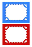 Postage stamps in red and blue backgrounds. Postage stamps with perforations on different backgrounds are shown in the image Stock Photography