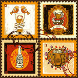 Postage stamps set for beer theme. Royalty Free Stock Images