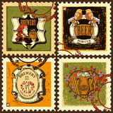 Postage stamps set for beer theme. Royalty Free Stock Photos