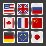 Postage Stamps Set with Different Country Flags. Vector Royalty Free Stock Image