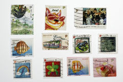 Postage Stamps From Singapore. Set of similar old postage stamps from singapore Stock Photos