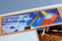 Postage stamps, Space Mars planet Stock Photo