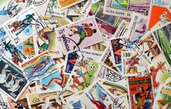 Postage stamps sport stock photography
