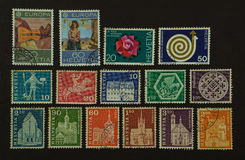Postage stamps of switzerland Royalty Free Stock Photo