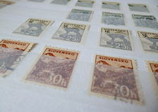 Postage stamps. From the territory of Slovakia in the years 1939-1945. Signs Album viewed in detail on the mark stock photos