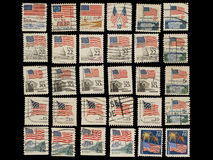 Postage stamps with the USA State Flag. Stock Image