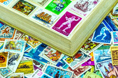 Postage stamps USSR in album Stock Photo