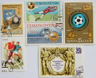 Postage stamps of the USSR and Czechoslovakia on football Stock Photography