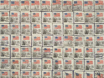 Postage Stamps With The USA State Flag. Royalty Free Stock Images