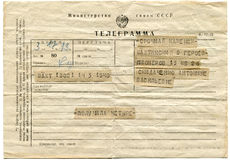 Postage telegram. USSR - CIRCA 1979: Postage telegram notification of a successful exam at the University isolated on white background Royalty Free Stock Image
