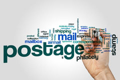 Postage word cloud. Concept on grey background Stock Photo