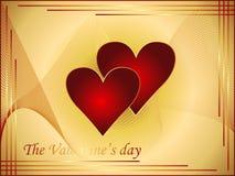 Postal 2 de la tarjeta del día de San Valentín del oro Fotografía de archivo libre de regalías