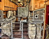 Postal. Interior view of a railway's  express mail car from 1940 Royalty Free Stock Photography