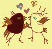 Postal amarilla del amor de la primavera con los pájaros Foto de archivo libre de regalías