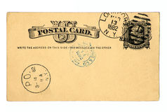 Postal antigua anticuada 1882. Imagenes de archivo