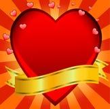 Postal au jour du saint Valentin avec un coeur rouge Images libres de droits