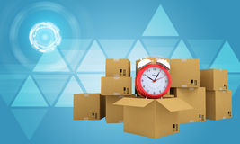 Postal boxes on them alarm clock. Backdrop of Stock Photos