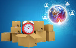 Postal boxes on them alarm clock. Backdrop of Royalty Free Stock Photos