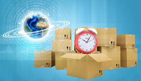 Postal boxes on them alarm clock. Backdrop of Royalty Free Stock Image