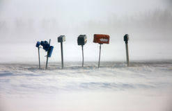 Postal Boxes in Winter Royalty Free Stock Photos