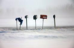 Postal Boxes in Winter. Saskatchewan Royalty Free Stock Photos