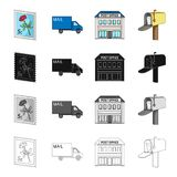Postal, building, structure, and other web icon in cartoon style.Envelope, letter, telegram, icons in set collection. Stock Photo
