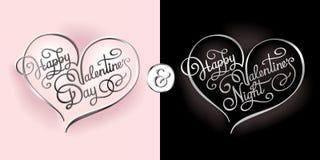 Postal caligráfica chistosa para el día y la tarjeta del día de San Valentín de la tarjeta del día de San Valentín Fotos de archivo