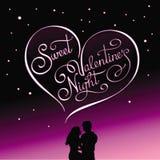Postal caligráfica para la noche del día de tarjeta del día de San Valentín y de la tarjeta del día de San Valentín Imágenes de archivo libres de regalías