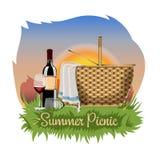 Postal, cartel o bandera con una cesta para una comida campestre, una botella de vino y copas de vino stock de ilustración
