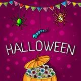 Postal, cartel para Halloween Magia del día de fiesta, arañas, gusanos, web de araña Calabaza grande con los ojos humanos Imagenes de archivo