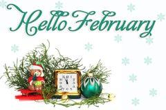 postal Composición del `s del Año Nuevo antigüedades Reloj de cuero fotos de archivo libres de regalías
