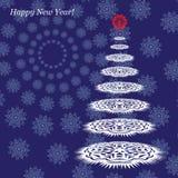 Postal con Año Nuevo Árbol de navidad de copos de nieve en un fondo azul Vector ilustración del vector