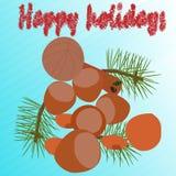 Postal con diverso tipo de nueces y de hojas del árbol de navidad Fotos de archivo
