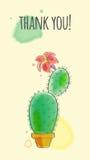 Postal con el cactus Foto de archivo libre de regalías
