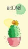 Postal con el cactus stock de ilustración